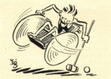 A cartoon of a man in a wheelchair in motion hitting a ball with a polo mallet.
