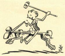 A cartoon of a man riding a brace drawn to look like a horse.
