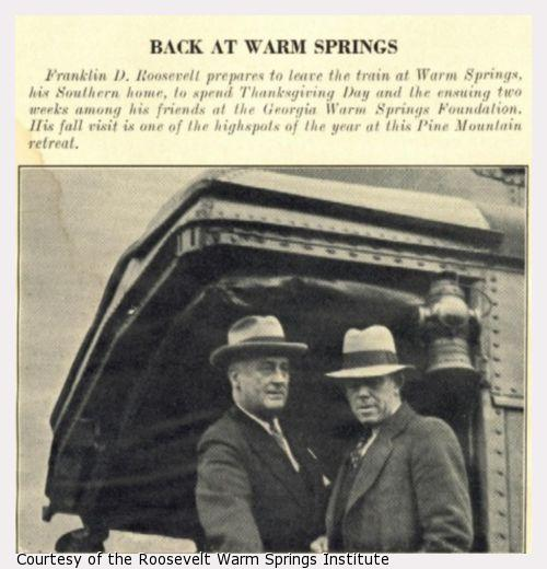 Franklin Roosevelt and another man leaving a train.