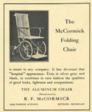 A advertisment for a folding wheelchair.