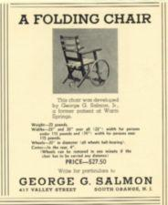 An advertsiement for a folding wheelchair.