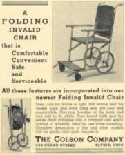 An advertisement for a folding wheelchair.