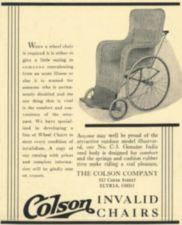 An advertisment for a wicker wheelchair.
