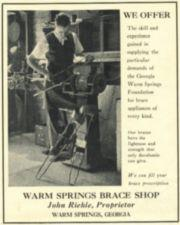 A advertisement showing a man working on braces in his shop.