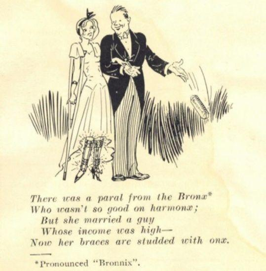 A drawing of a bride in leg braces standing next to a groom.