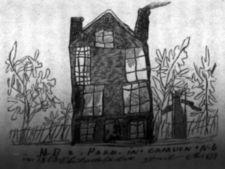 A child's drawing of of a fenced house and trees