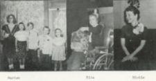 Three photographs of people, one with several children.