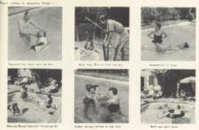 Six photographs of people in a swimming pool.