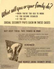 A poster explaining what Social Security does with an image of a farm worker.