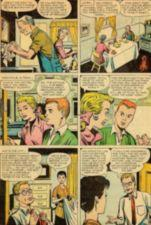 Comic book panels.  Three sets of couples converse.