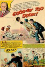 Comic book panels about a young man who plays baseball and helps his father after school.