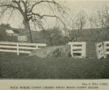 A large rock near trees and a fence on a farm.