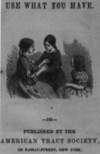 "Title page from ""Use What You Have.""  A seated woman helps a girl fix her sleeves while another girl looks on."