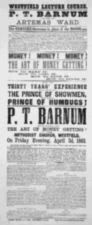 A printed broadside announcing a Barnum lecture at Westfield, Massachusetts.