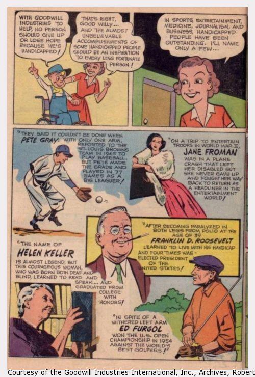 """Panels of the comiuc book, """"The Will to Win.""""  Good Willy learns about people who have succeeded despite their disabilities."""