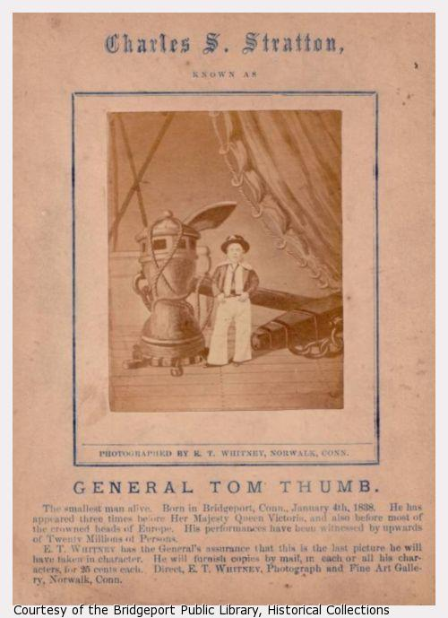 Souvenir photograph of Tom Thumb dressed as a sailor.
