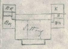 Roughly drawn floor plan for Top Cottage.