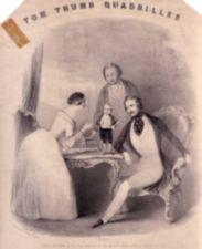 A tiny Tom Thumb stands on a table next a woman and two men.  The room is ornate.