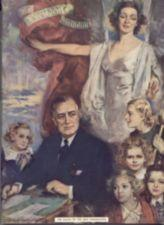 FDR sits at a desk surrounded by children, one holding a crutch. A woman looks on.