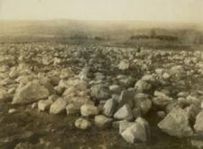 A single young man looks upon a field of recently cleared large rocks.