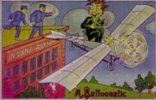 "Color postcard cartoon depicts man flying an airplane away from a brick building labeled ""Insane Asylum"" while guards look on from the roof."