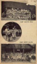 Postcard includes three photographs: top-- group photo of campers at Camp Easter Seal; center-- counselors help campers with artificial legs practice archery; bottom-- group photo of campers at Camp Daddy Allen waving their arms