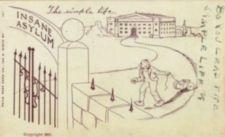 Drawing of a man pulling a wagon away path from a large institutional building.