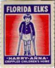 Stamp showing a young girl using crutches.