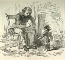 An illustration depicting an adult male lecturing Gen. Tom Thumb who is in uniform.