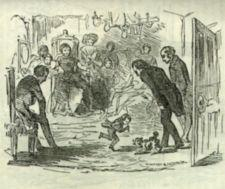 An illustration depicting Tom Thumb fending off a small dog with his cane, to the apparent amusement of an adult crowd in a parlor.