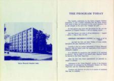 "Page 8: Photo of ""Elyria Memorial Hospital Today"". Page 9: Description of ""The Program Today"" (Elyria Memorial Hospital's current (1973) program for Crippled Children."