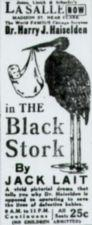 Motion Picture Directory Ad for The Black Stork at the LaSalle.  The ad has a picture of a black stork with a baby in a bundle in its beak.