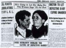"Photo of a newspaper article entitled ""Doctor to Let Defective Baby Expire Unaided""."