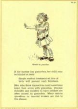 Drawing of blind girl with a message warning about gonorrhea.