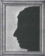 Framed silhouette of Alice Cogswell.