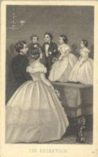 Mr. and Mrs. Tom Thumb and their wedding party stand on top of a piano and entertain guests.