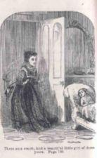 A young woman sees a small girl on a couch.