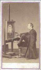 An armless man paints his portrait using his foot.