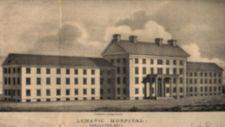 Lithograph of large building with columns