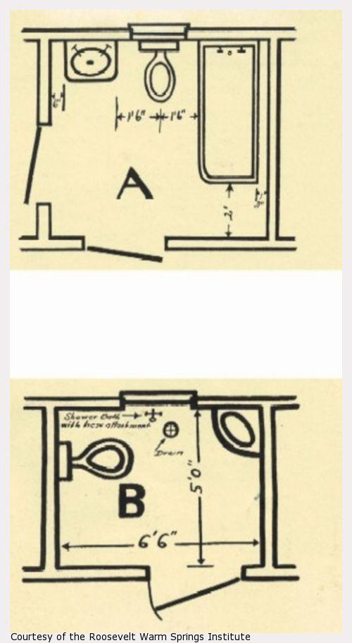 Drawings of two designs for accessible bathrooms.