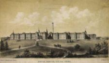 Long view of hospital from front; horse drawn carriage approaches