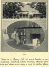 Two photographs -- one of a large building, the other of a man sitting on a couch reading a book.