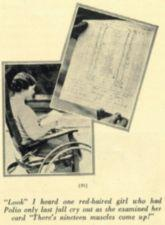 A young woman in a wheelchair looks at a paper with a list on it.