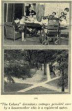 Two photographs -- one of children around a table, the other of walkways leading to cottages.