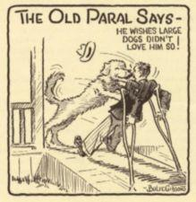 A cartoon of a man on crutches being greeted by a dog at the door.