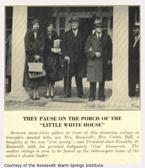 Franklin and Eleanor Roosevelt and two other people stand between two porch pillars.