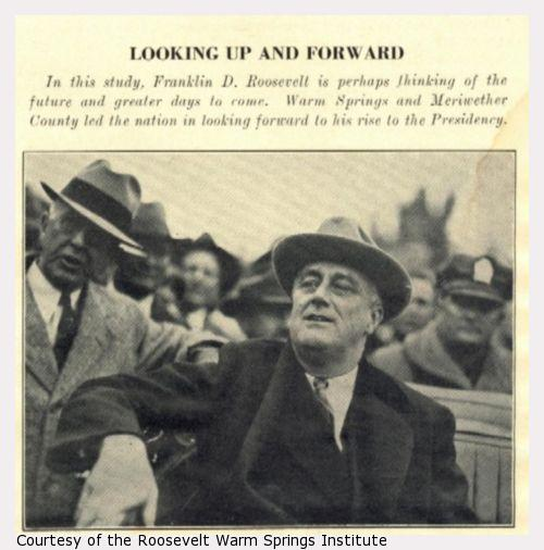 Franklin Roosevelt, with a hat on, looks from a car.