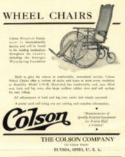 Advertisement with a picture of a cane-backed wheelchair.