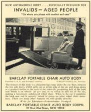 An advertisement with a chauffeur pushing a woman in a wheelchair into a car.