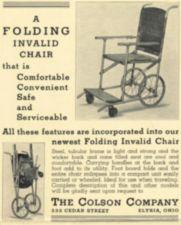 An advertisement for a folding wheelchair.